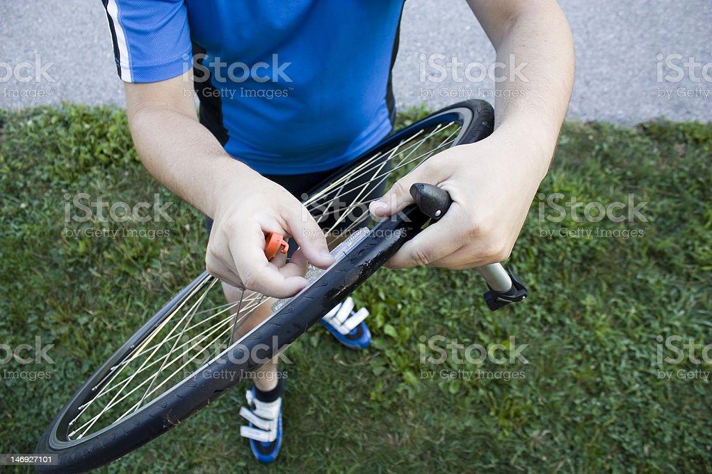 Changing a Bike Tire stock photo