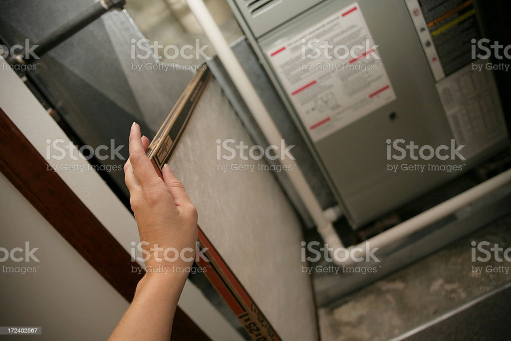 Changing air filters stock photo