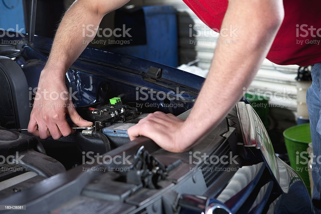 Changing battery stock photo