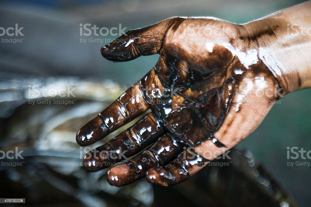 changing car engine oil stock photo