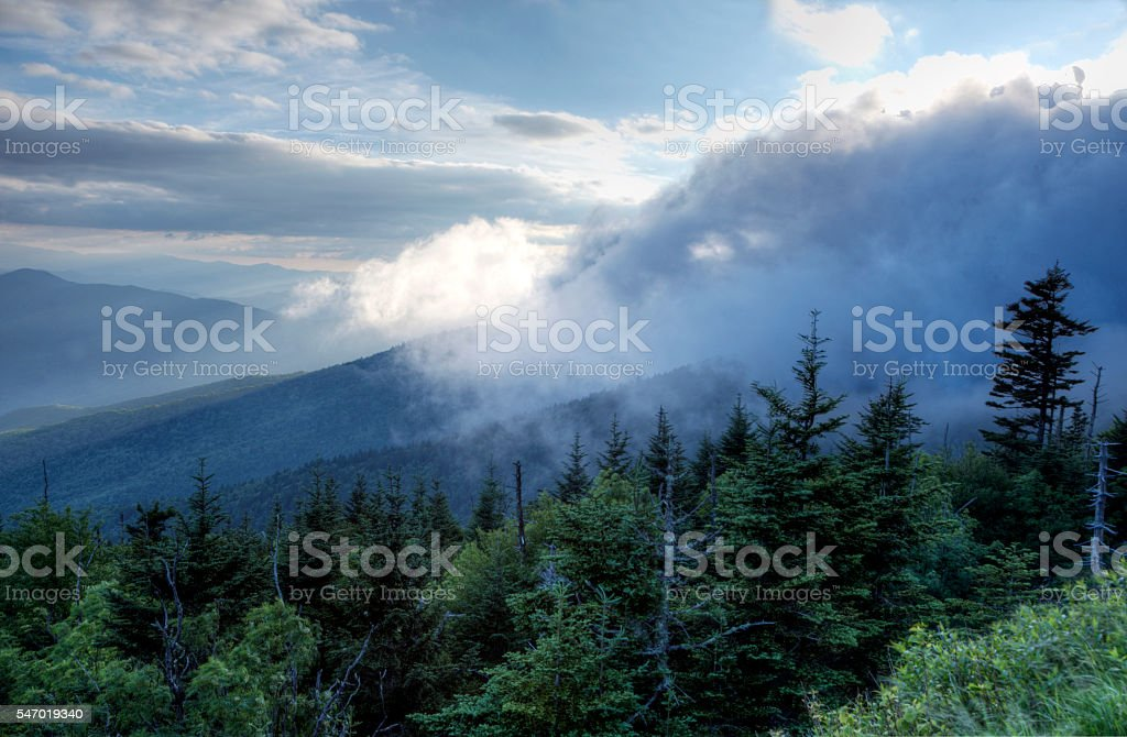 Changing cloudscape in the Great Smoky Mounains. stock photo