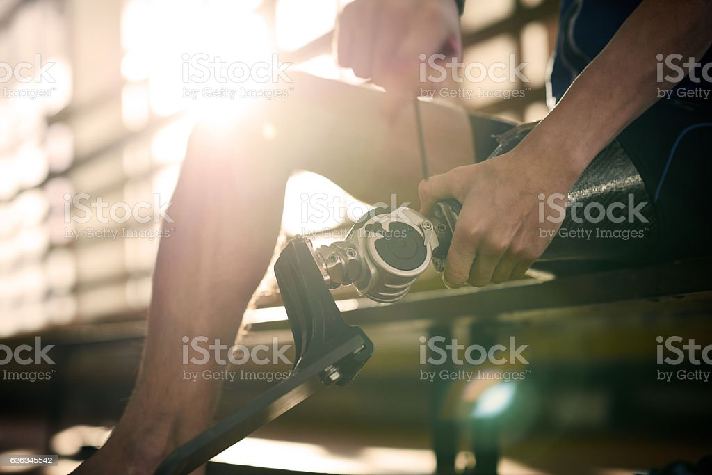 Changing foot on prosthetic leg stock photo