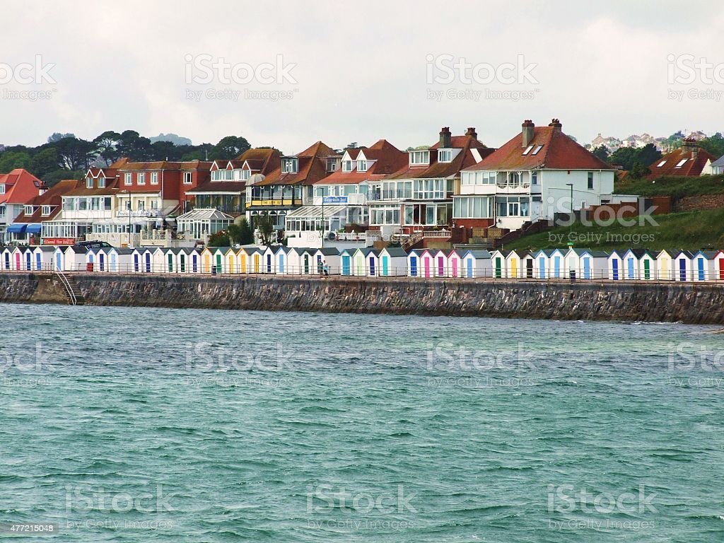 Changing huts at Paignton in Devon stock photo