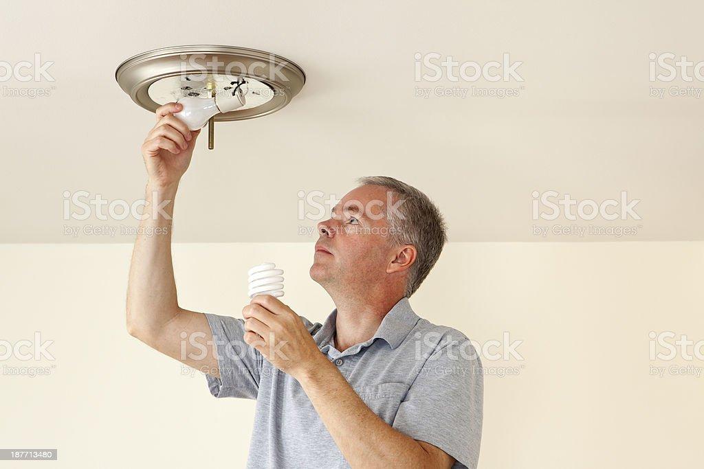 Changing Light Bulbs stock photo