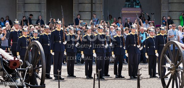 Stockholm, Sweden - June 4, 2019: Changing of the Guard in the Outer Courtyard of Stockholm Royal Palace.