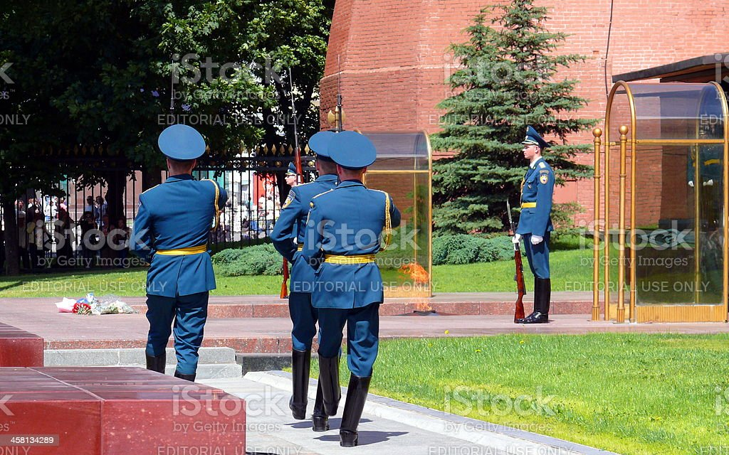 """Changing of guard in """"Alexander garden"""" - Moscow royalty-free stock photo"""