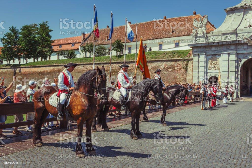 Changing of Guards in Alba Carolina Citadel stock photo