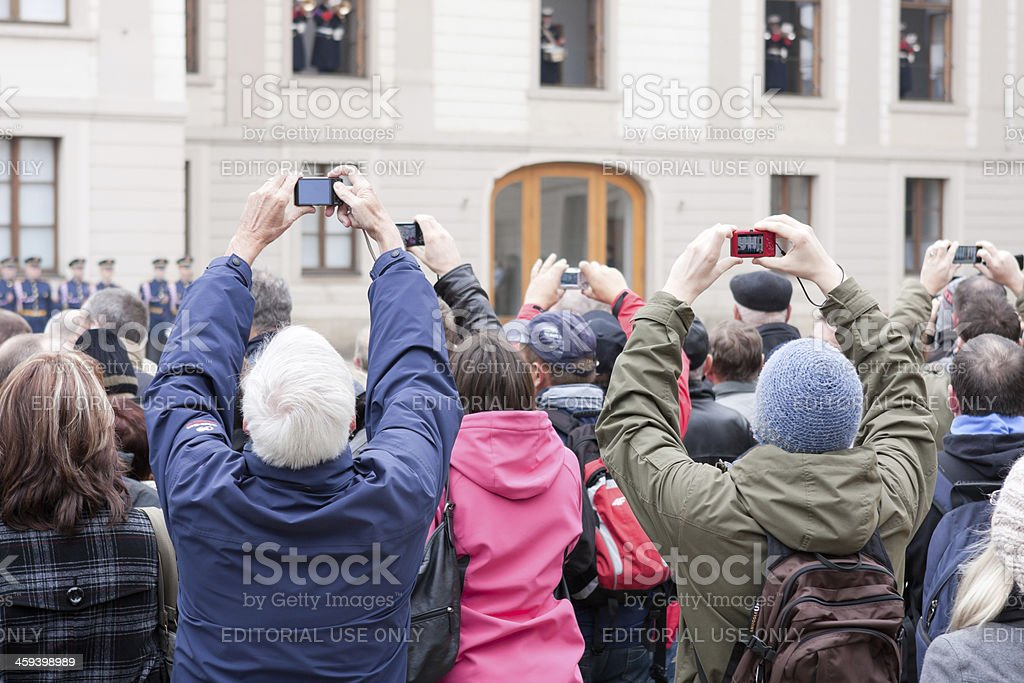 Changing of the Guard at Prague Castle stock photo
