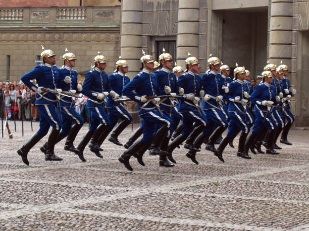Changing of the guard ceremony with the participation of the Royal Guard cavalry in Stockholm. stock photo