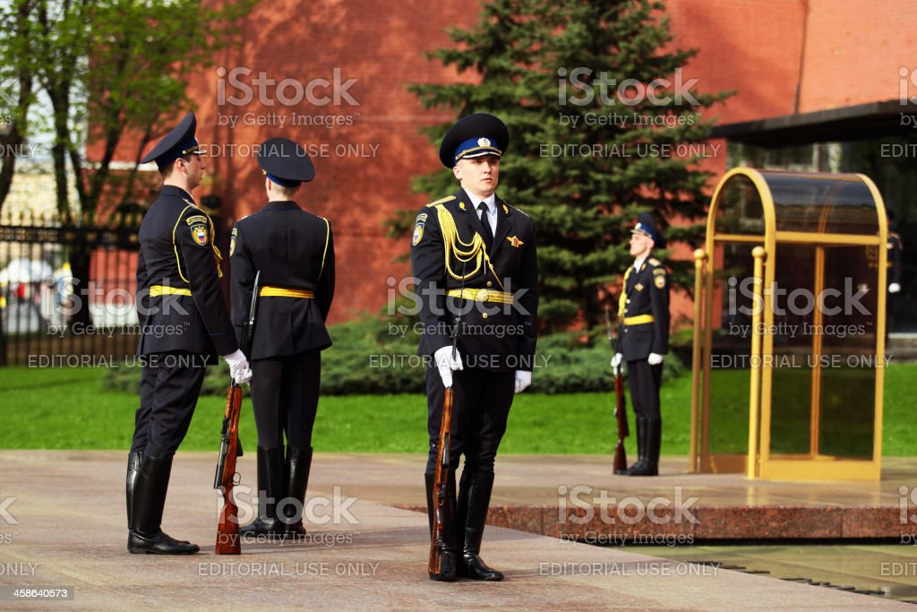 Changing of the Guard in Alexander Garden Moscow royalty-free stock photo