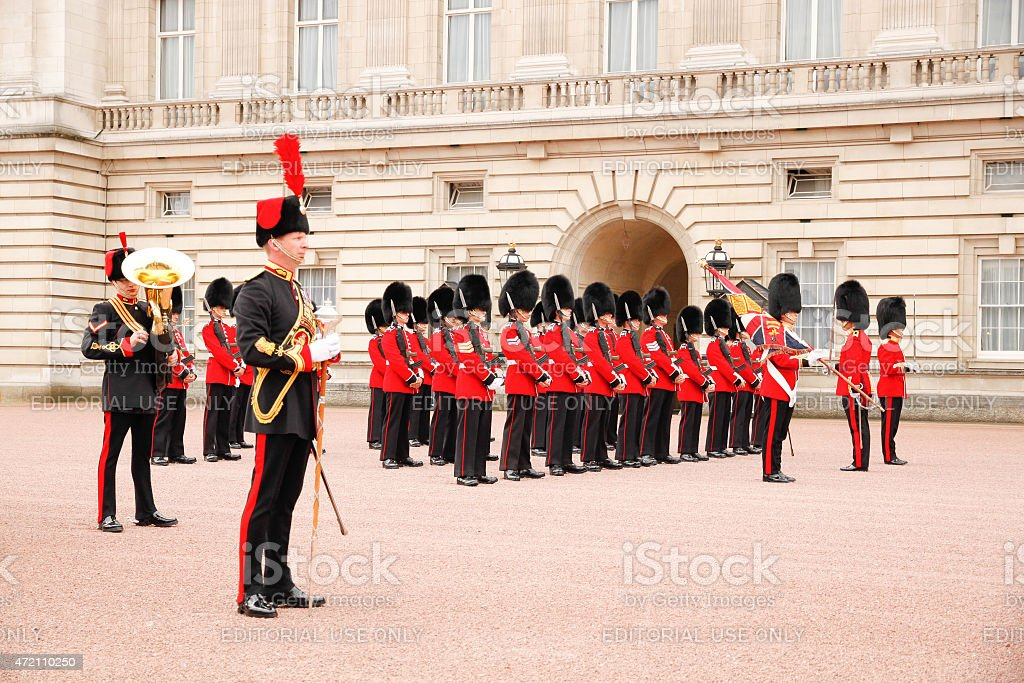 Changing of the guard in Buckingham Palace stock photo