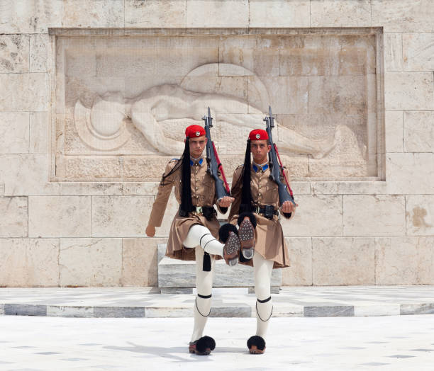 Changing of the guard on Syntagma square in Athens, Greece stock photo