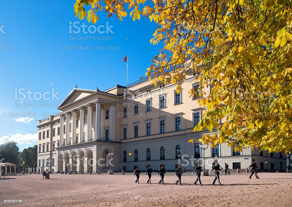 Changing of the guard, The Royal palace, Oslo Norway stock photo
