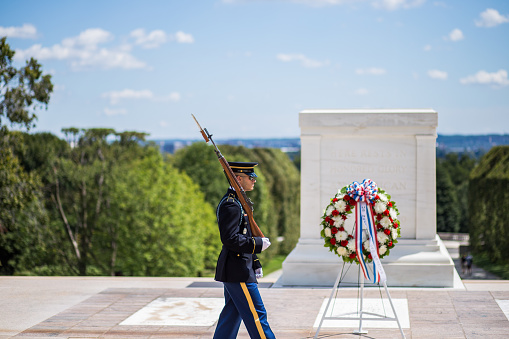 Changing of the Honor Guard  at Tomb of the Unknown Soldier in Arlington National Cemetery