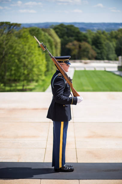 Changing of the Honor Guard  at Tomb of the Unknown Soldier in Arlington National Cemetery stock photo
