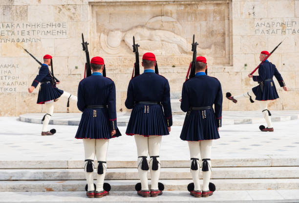 Changing of the presidential guard called Evzones at the Monument of the Unknown Soldier, next to the Greek Parliament, Syntagma square stock photo