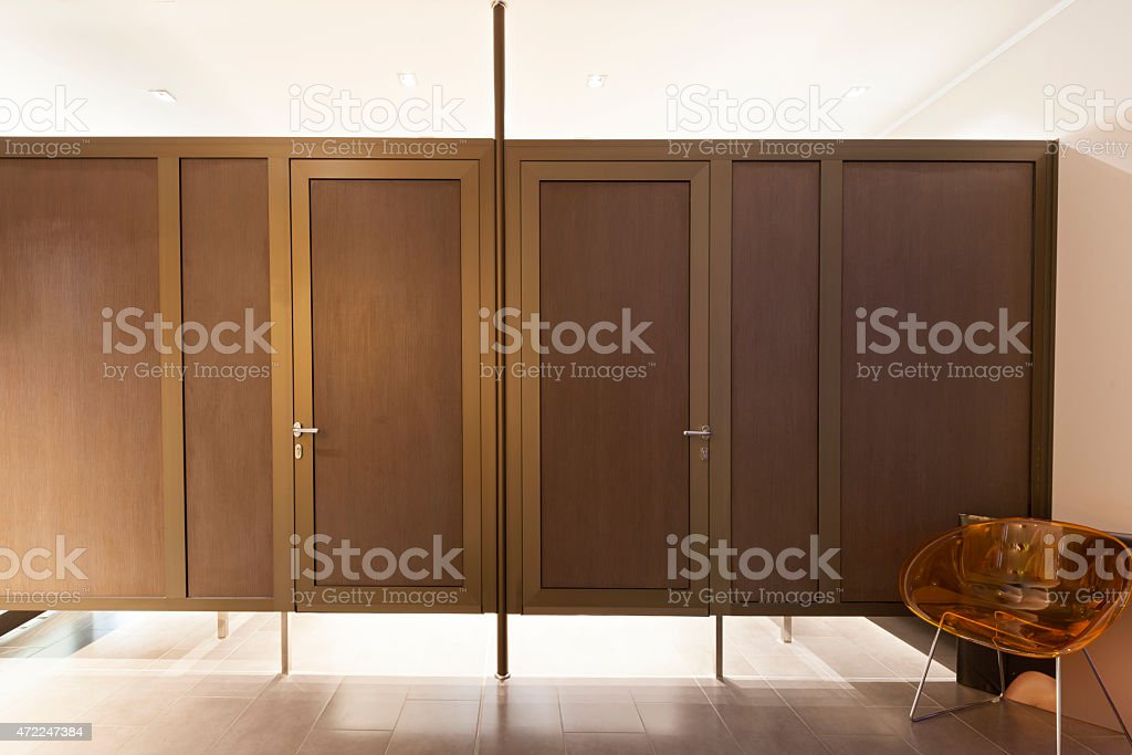 Changing rooms at spa center stock photo