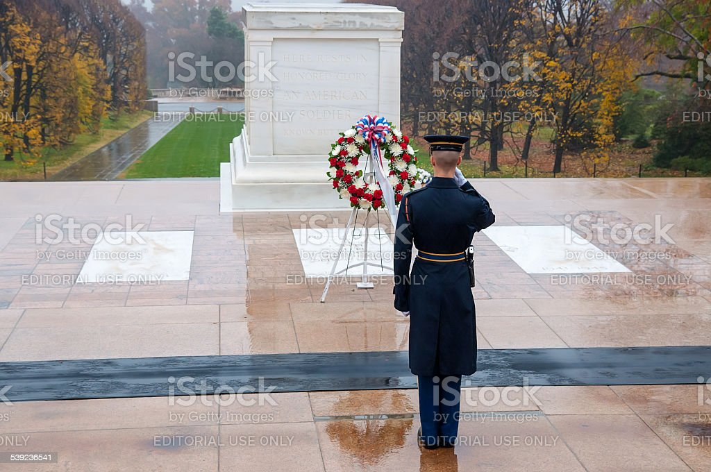 Changing the guard at Arlington national Cemetery in Washington stock photo