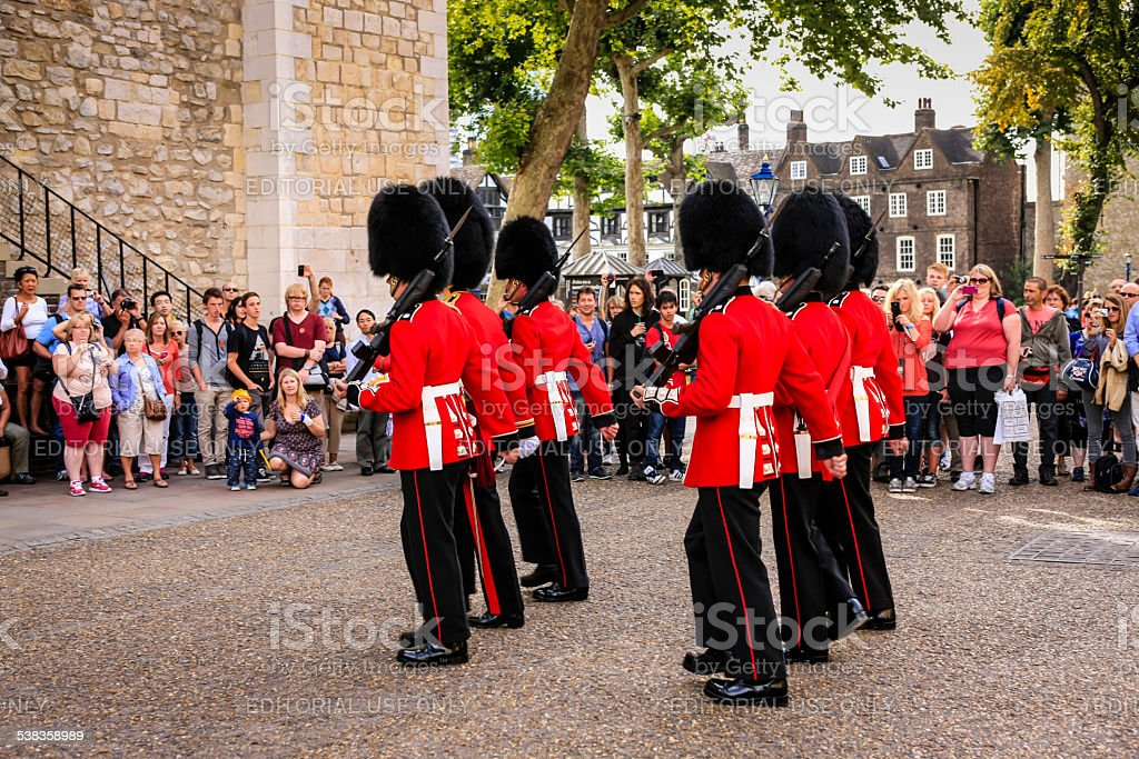 Changing the Guard at the Tower of London stock photo