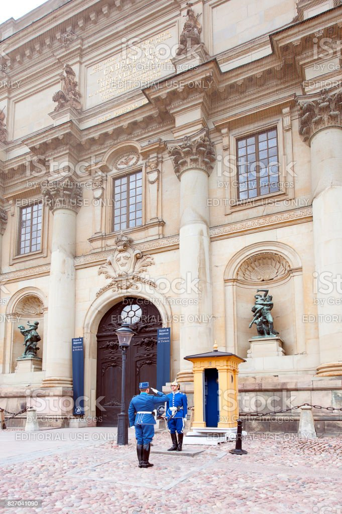 Changing the guard, Royal Palace, Stockholm, Sweden stock photo