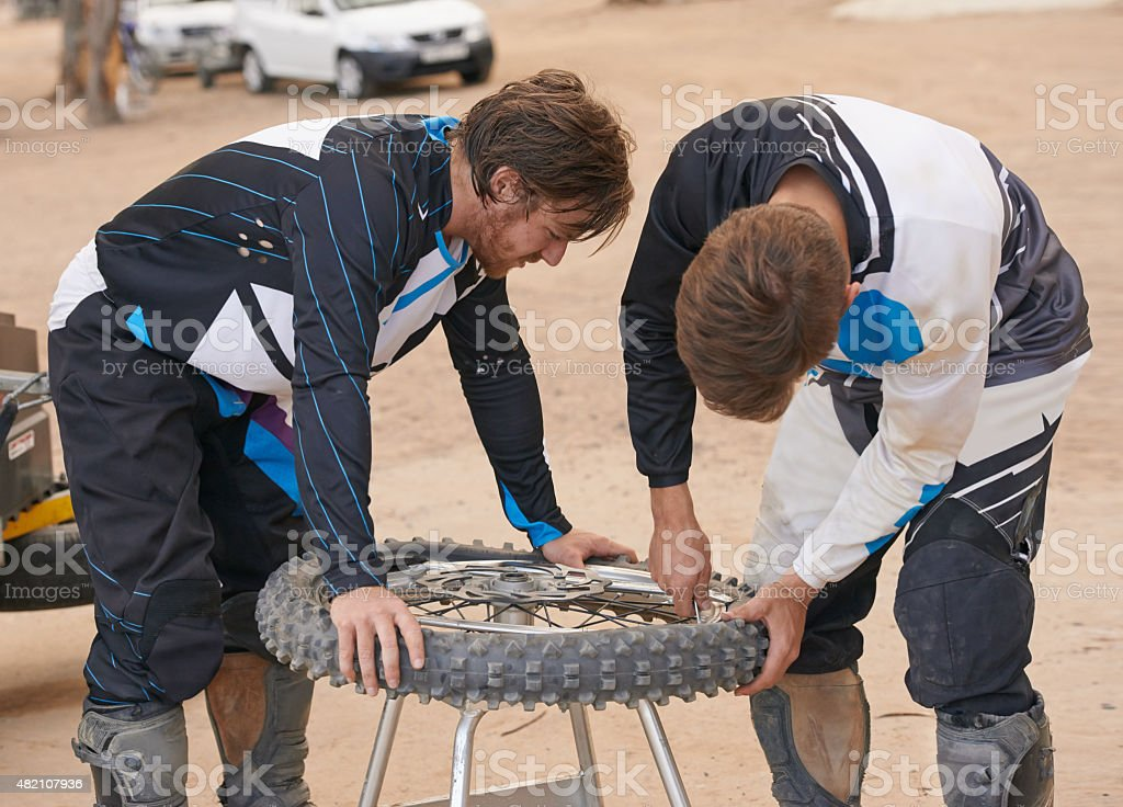 Changing the tyre stock photo