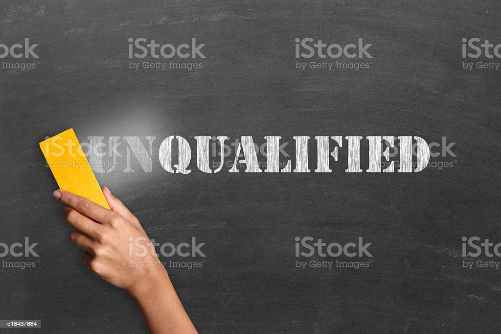 Changing unqualified to qualified stock photo