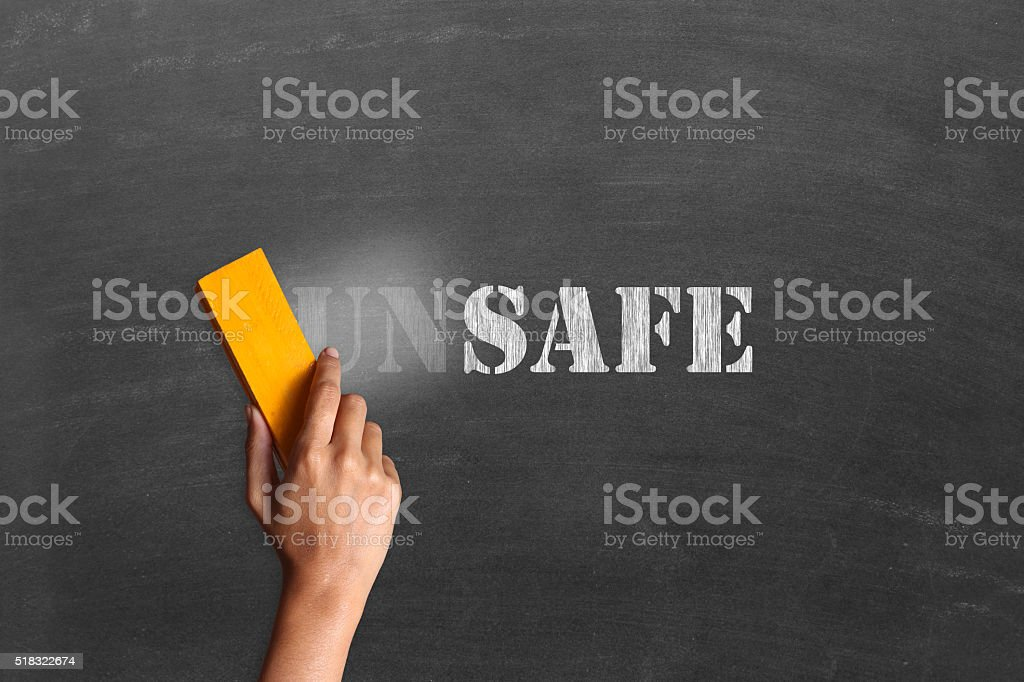 Changing unsafe to safe stock photo