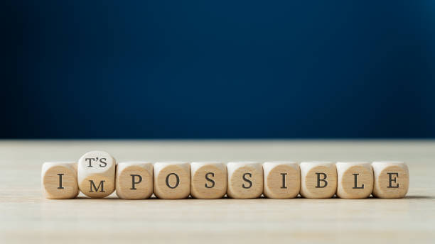 Changing word impossible into its possible stock photo