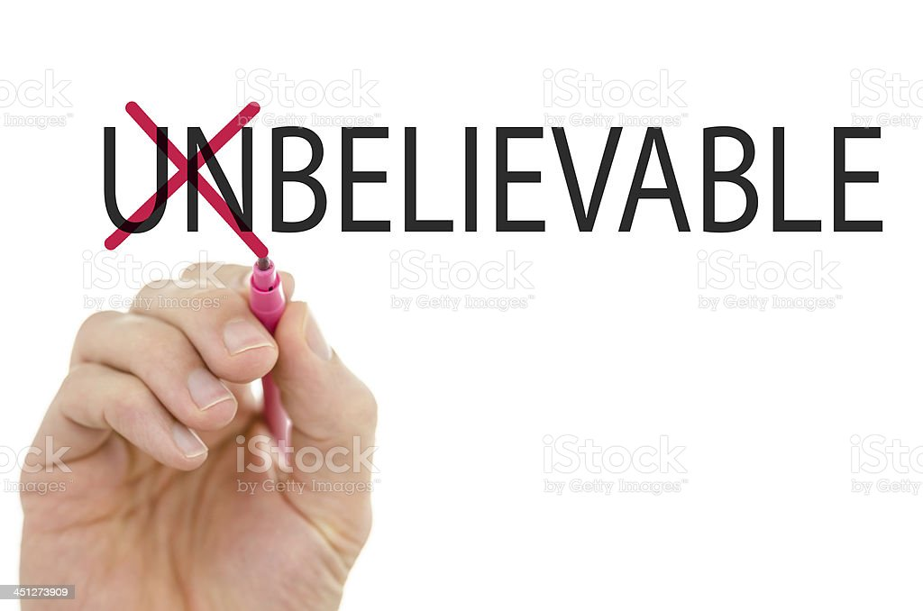 Changing word unbelievable into believable royalty-free stock photo