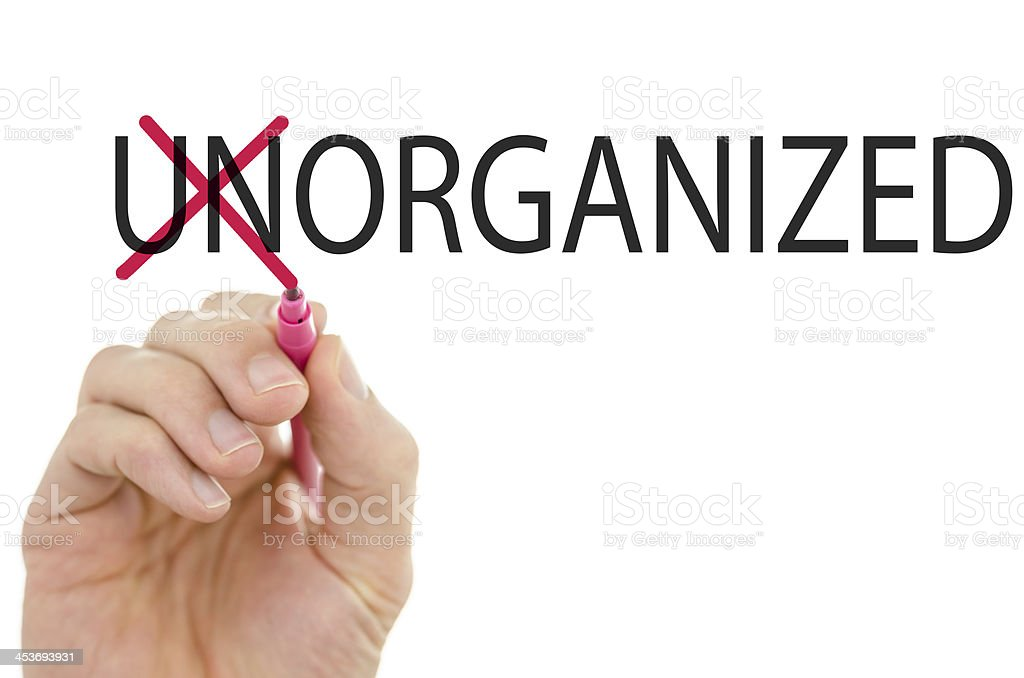 Changing word Unorganized into Organized royalty-free stock photo