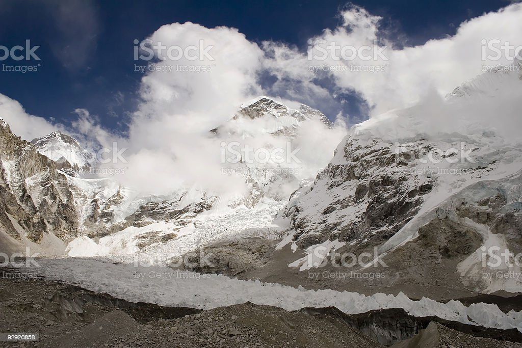 Changtse, Khumbutse, and Everest royalty-free stock photo