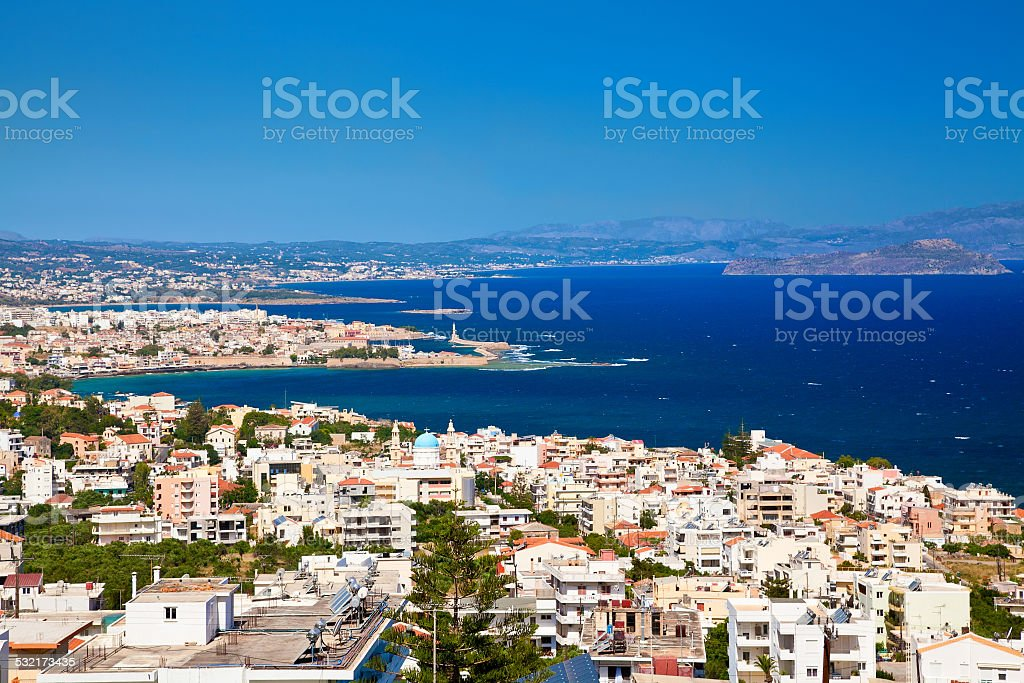Chania city from above, Crete stock photo