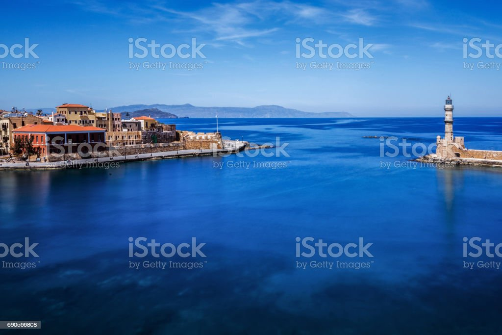 Chania Crete Harbor stock photo