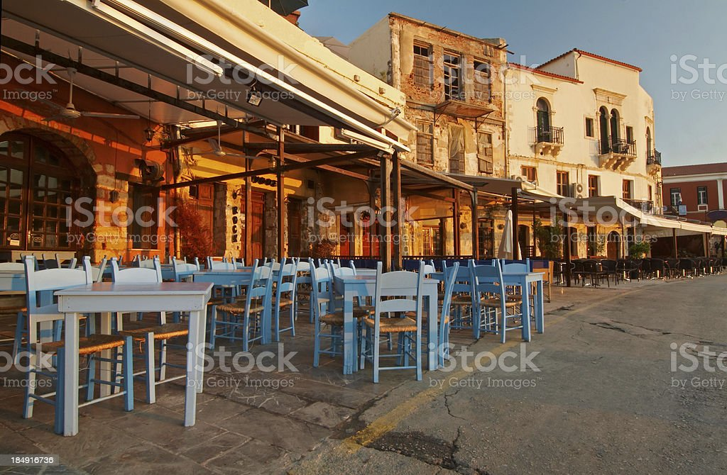 chania harbour stock photo