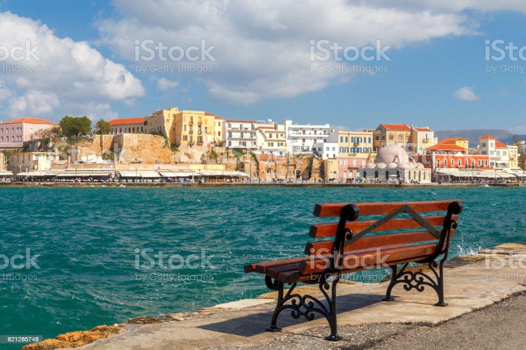 Chania. The old Venetian harbor. stock photo