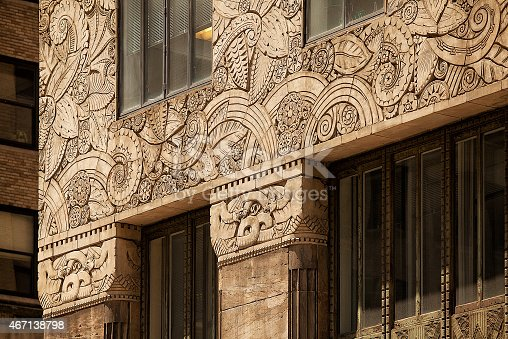 Close up detail of the architectural decoration on the Chanin Building New York