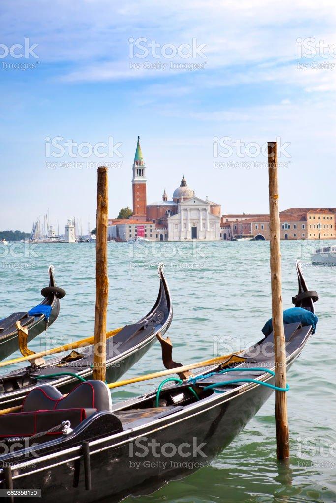 channel and gondolas, Venice, Italy zbiór zdjęć royalty-free