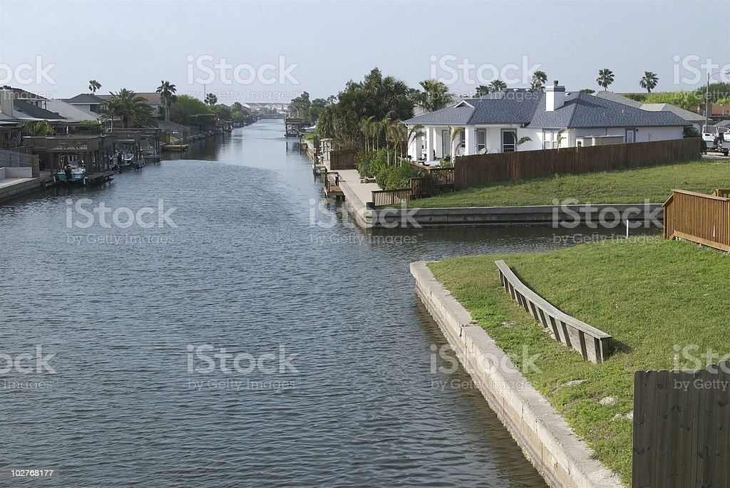 Channel for boats. stock photo