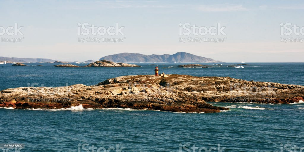 Channel Marker, Islands amd Icebergs stock photo