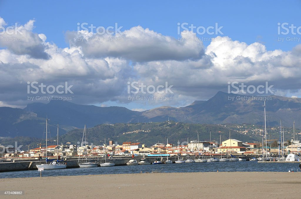 channel of the port with storage for boats stock photo