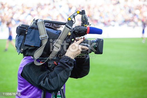TV channel operators shoot a sport game