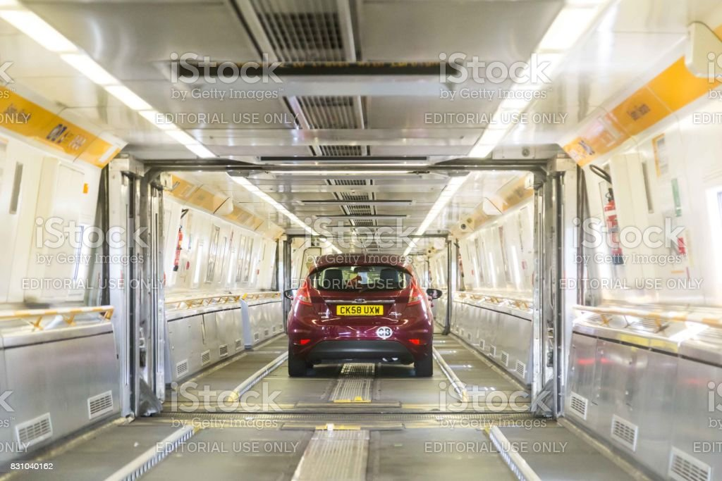 Channel tunnel, United Kingdom - June 4, 2017: Channel Tunnel crossing between France and  England. stock photo