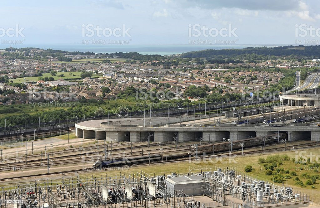 Channel Tunnel freight train heading out of the Folkestone terminal stock photo