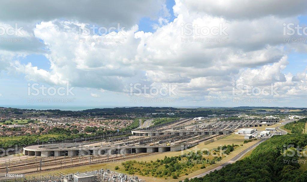 Channel Tunnel terminal at Folkestone, Kent, UK stock photo