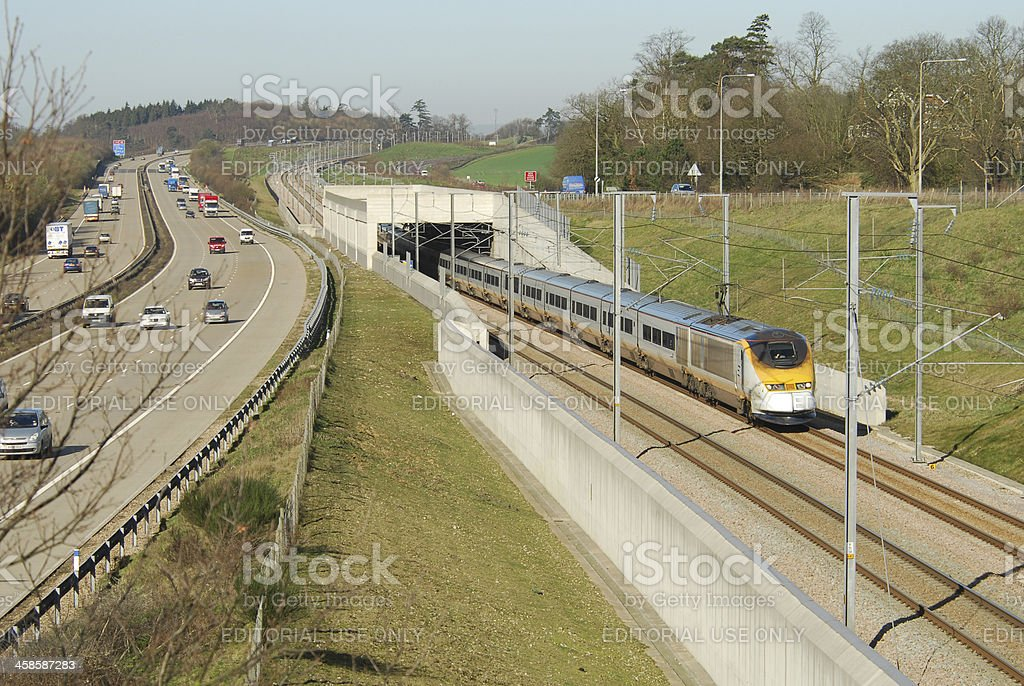 Channel Tunnel Train and M20 stock photo