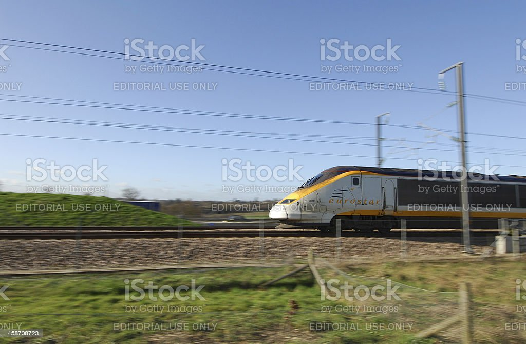 Channel Tunnel Train at Speed stock photo