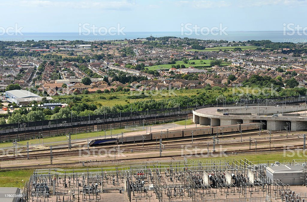 Channel Tunnel train leaving the terminal at Folkestone, Kent, UK stock photo