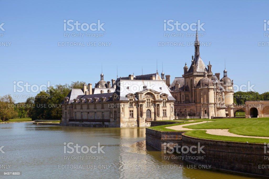 Chantilly castle in Hauts-de-France stock photo