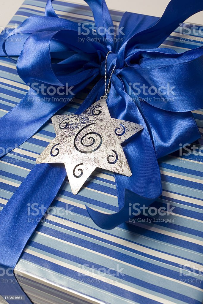 Chanukah Gift and bow stock photo