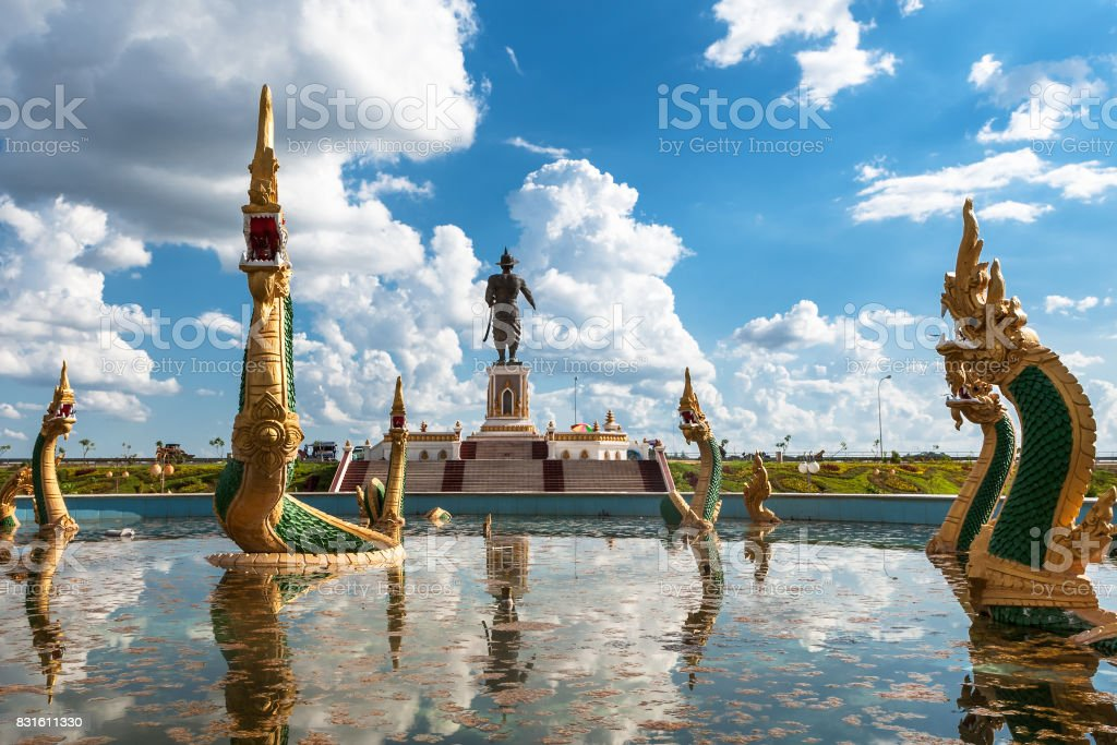Chao Fa Ngum Statue in Vientiane stock photo